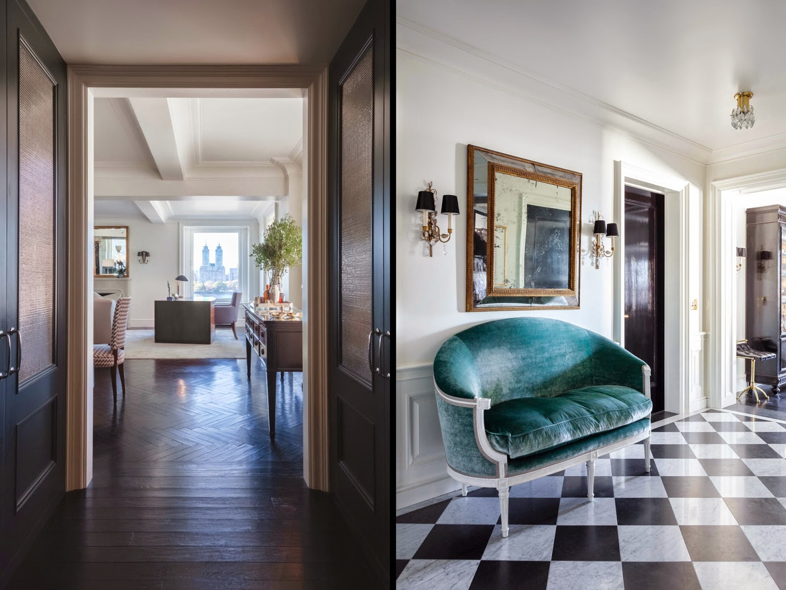 Бирюзовая и коричневая мебель в гостиных