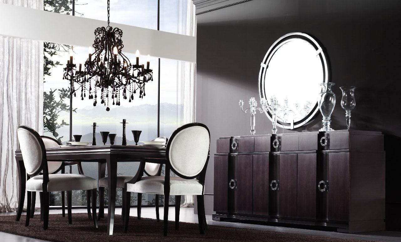 Черно-белая модная столовая в стиле арт-деко