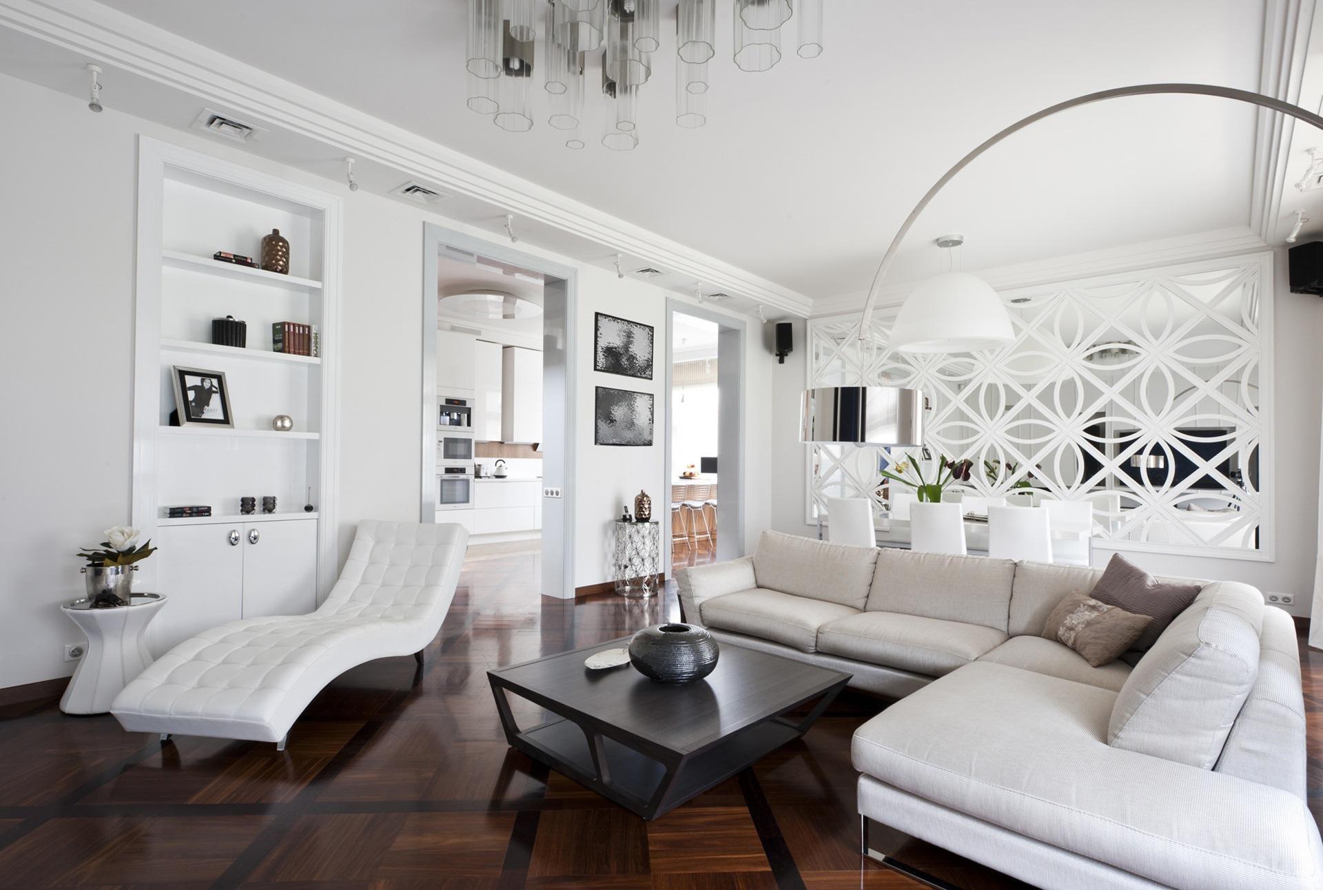 Белая и черная мебель в стиле арт-деко