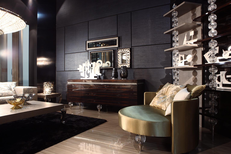 Черный, коричневый и золотистый цвета в гостиной в стиле арт-деко