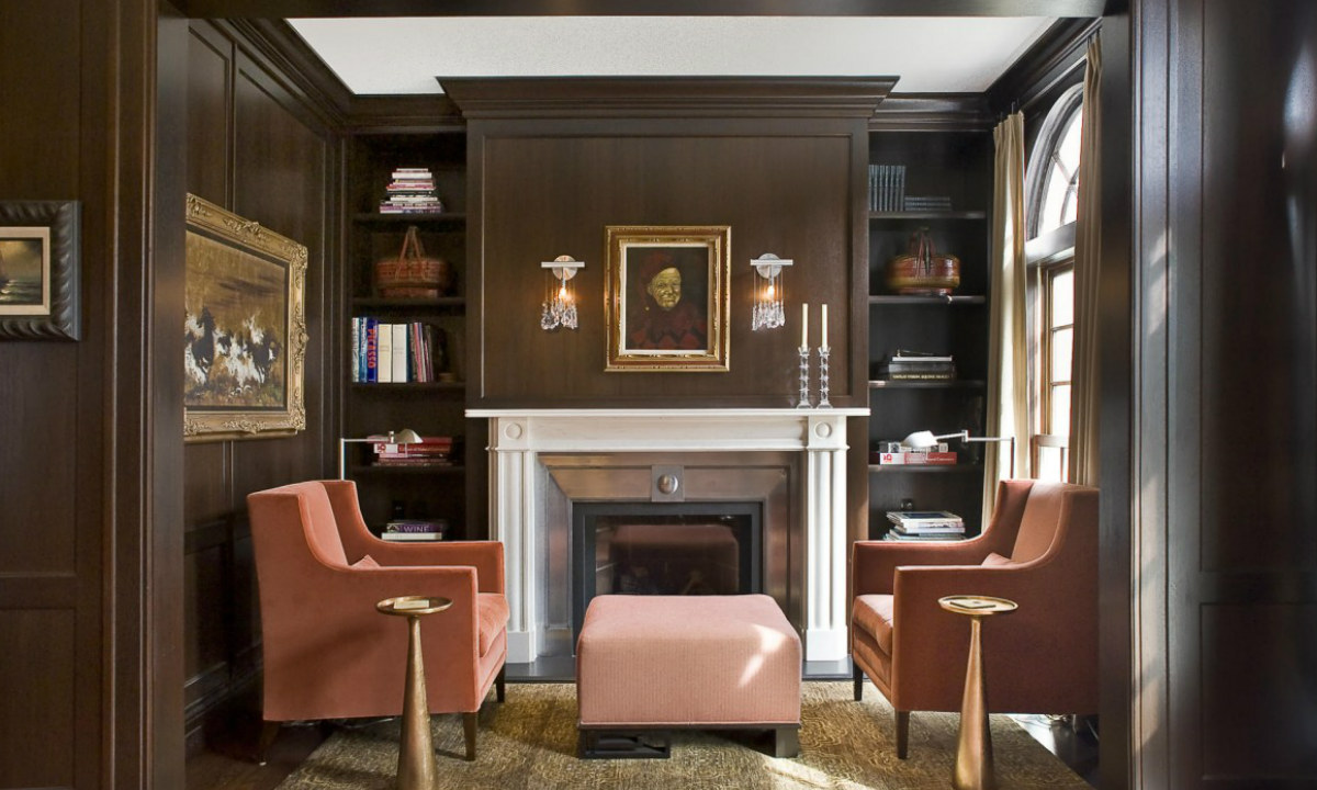 Персиковые кресла в стиле арт-деко