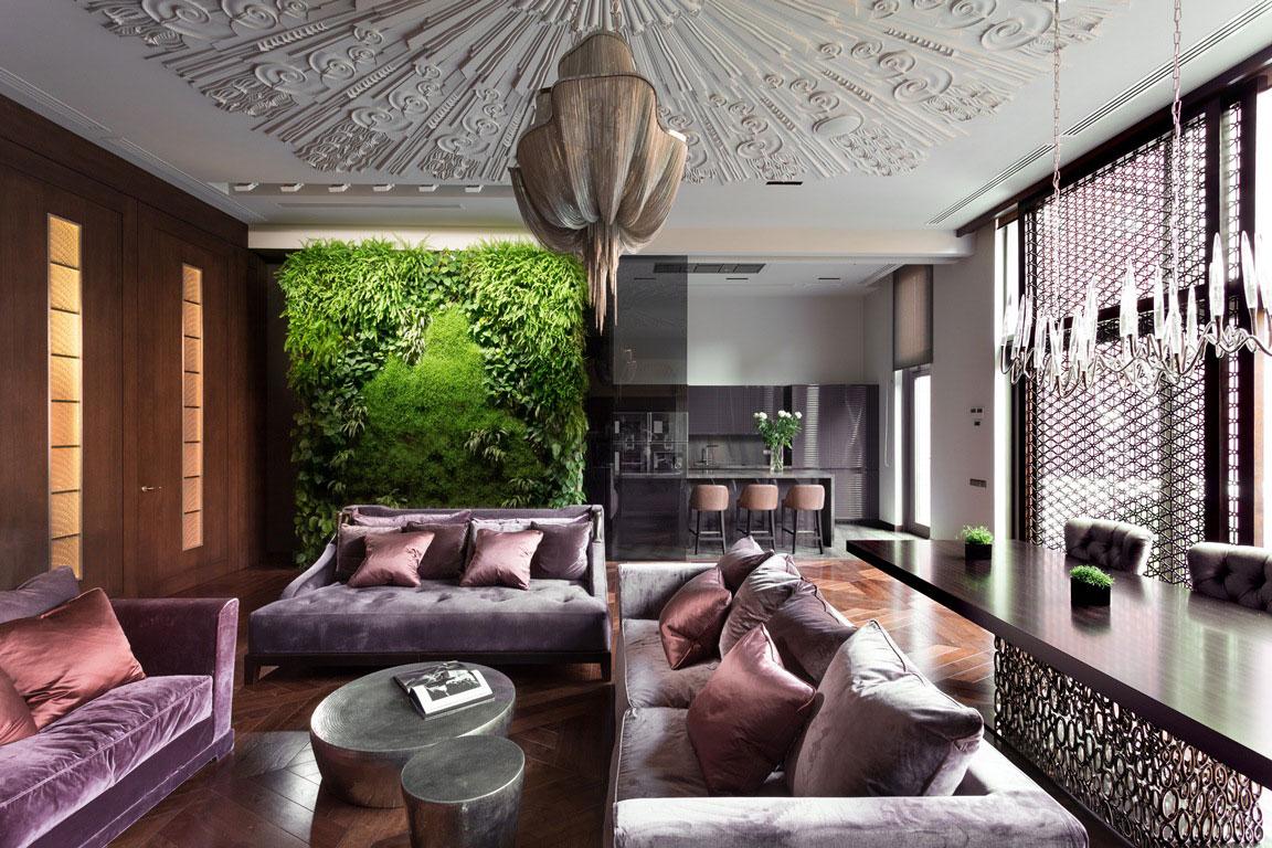 Фиолетовая мягкая мебель в интерьере в стиле арт-деко