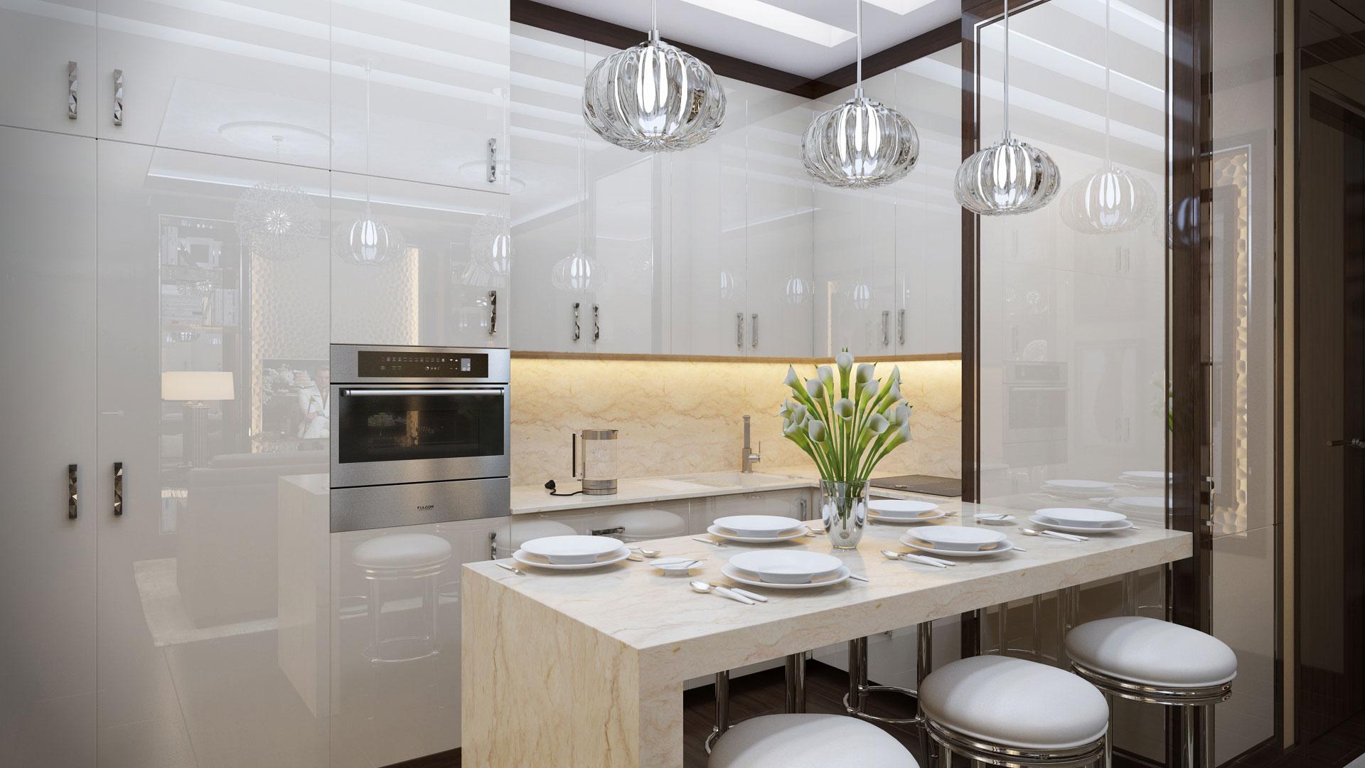 Белая кухня в стиле арт-деко