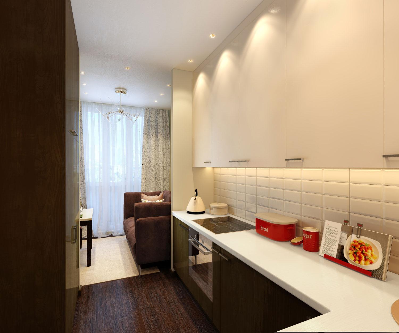 Узкая черно-белая кухня в стиле арт-деко
