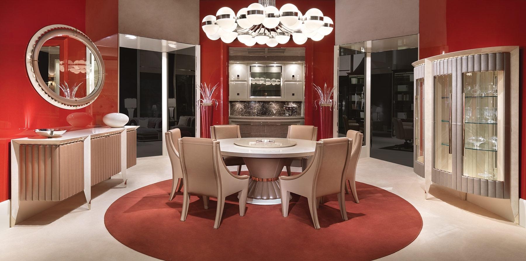 Красно-бежевая столовая в стиле арт-деко