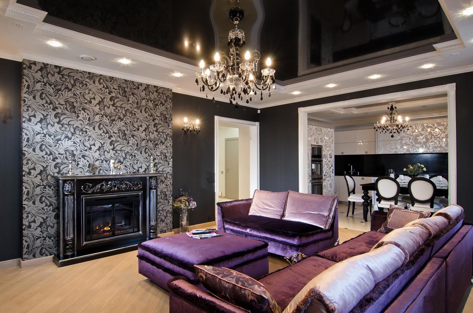 Фиолетовые диваны и пуф в стиле арт-деко в гостиной