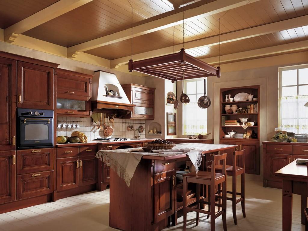 Коричневая мебель для кухни с островом в стиле кантри