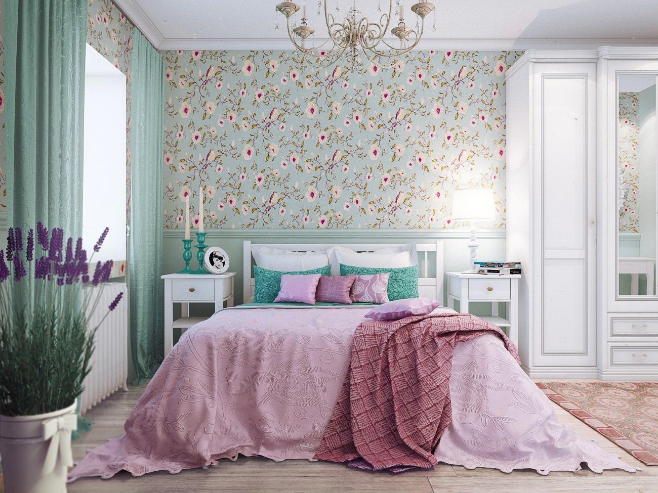 Кровать в стиле кантри в спальне