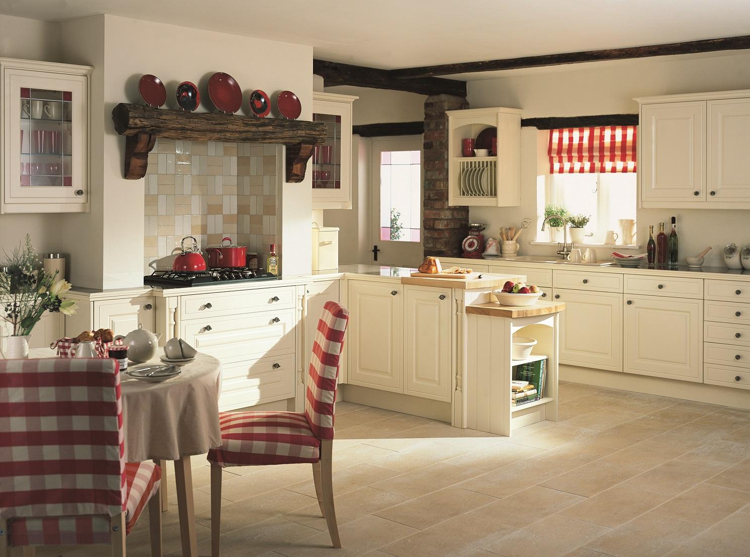 Кухня с полуостровом в стиле кантри