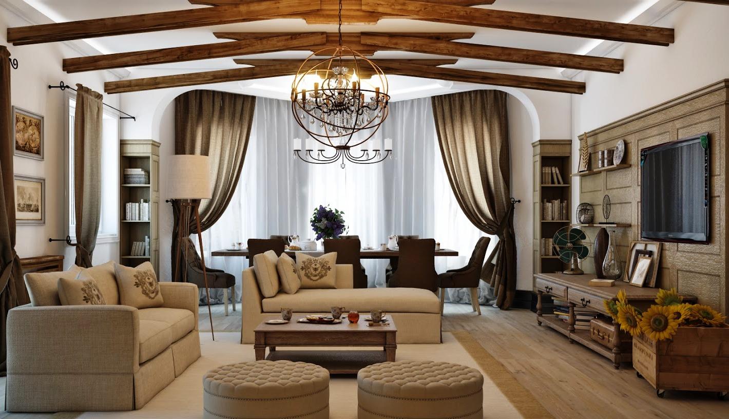 Уютная гостиная-столовая в стиле кантри