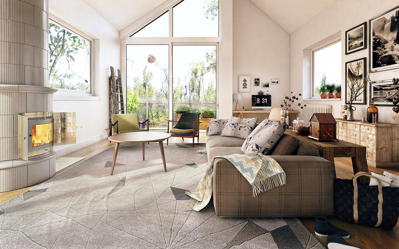 Мебель в гостиной в стиле кантри