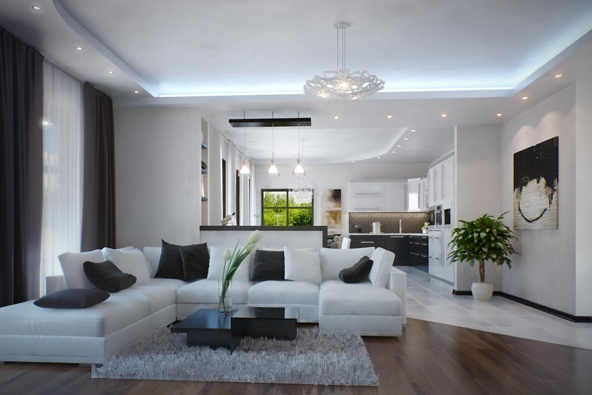 Белый угловой диван в стиле минимализм