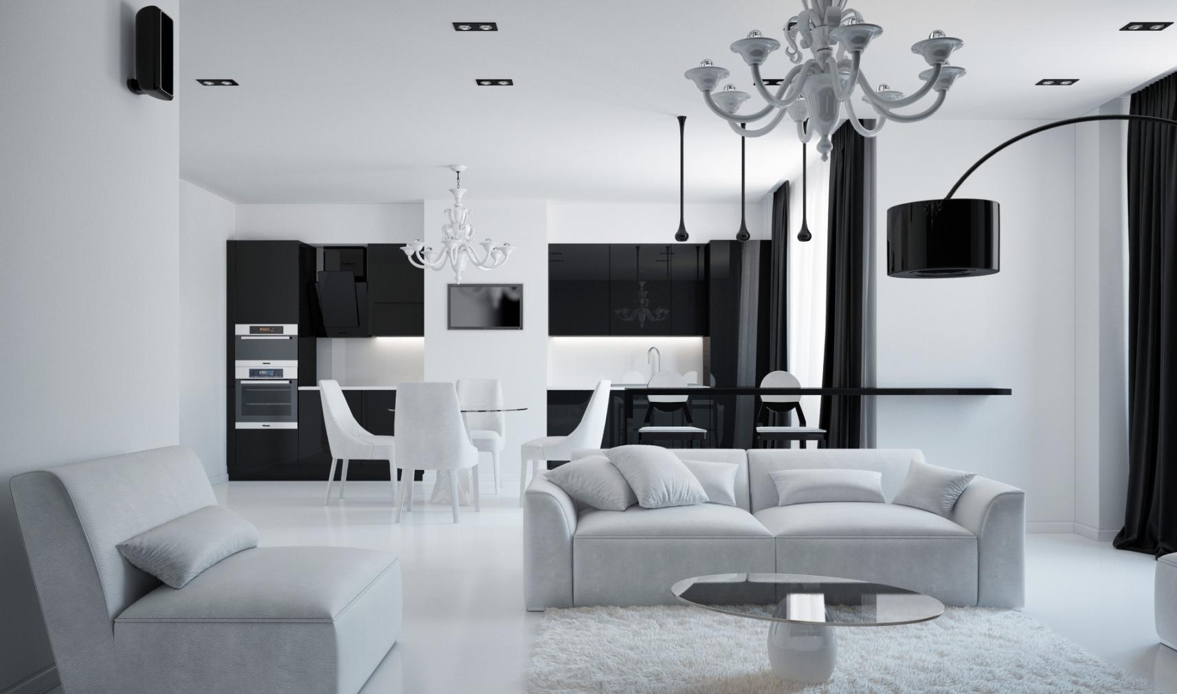 Черно-белая мебель в гостиной-кухне в стиле минимализм