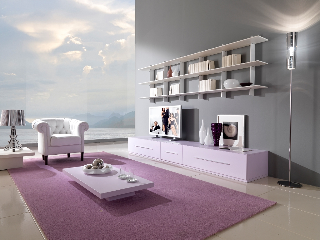 Розово-серая гостиная в стиле минимализм