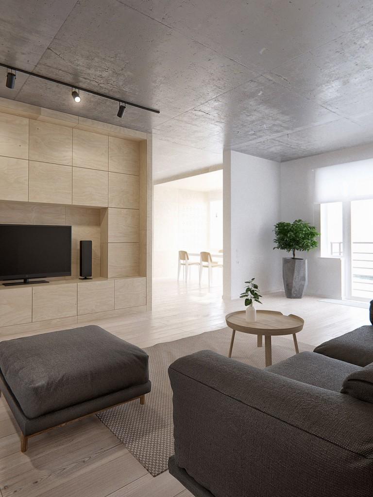 Бежевый, коричневый и белый цвета в гостиной в стиле минимализм