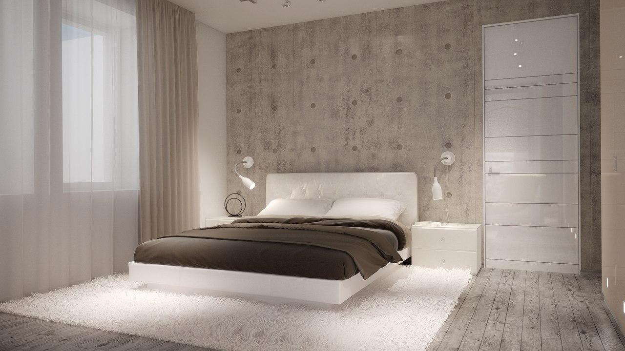 Белая кровать в спальне в стиле минимализм