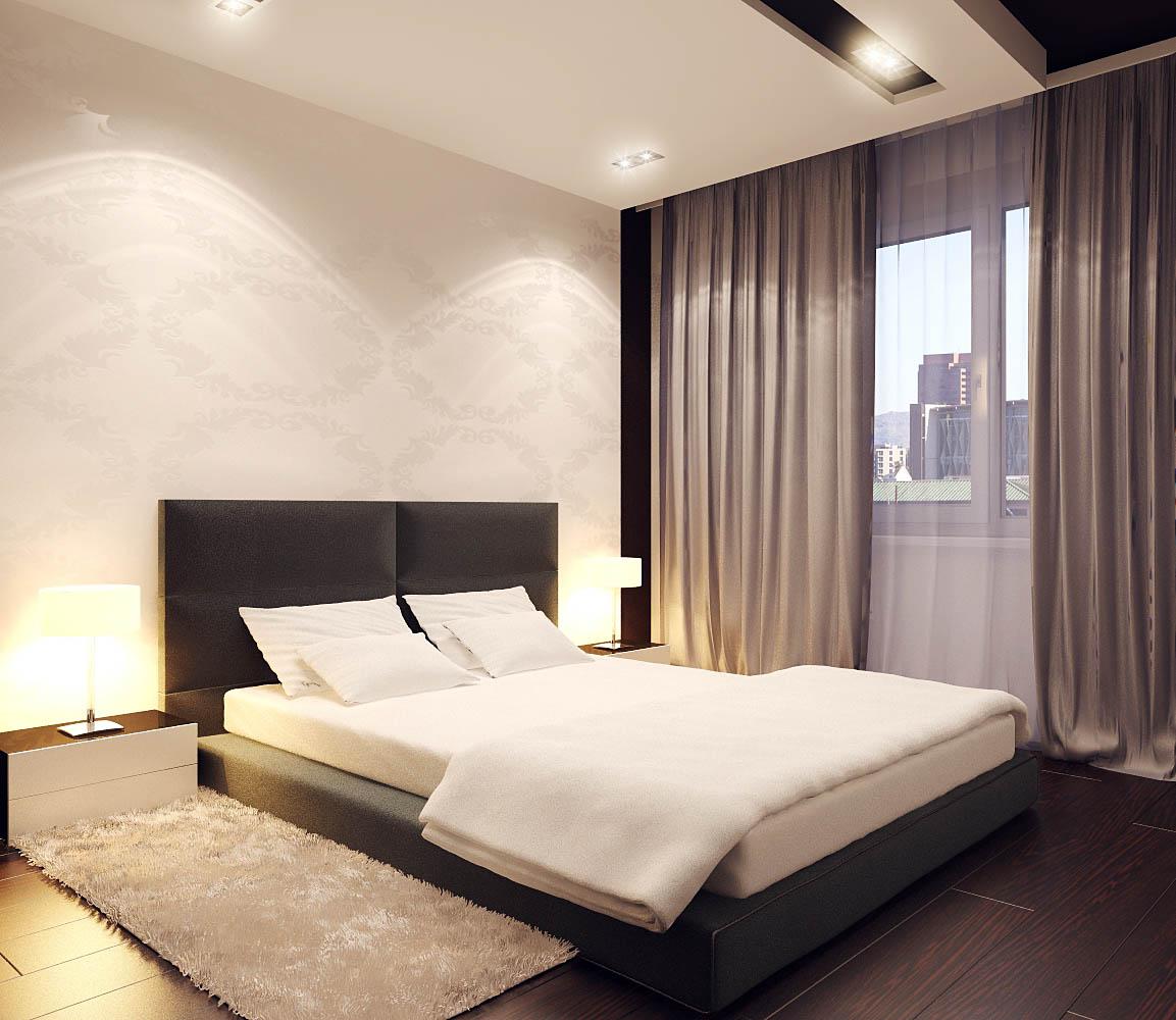 Черная кровать в спальне в стиле минимализм