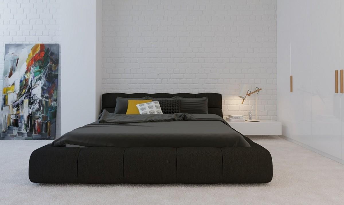 Серая кровать в белой спальне в стиле минимализм