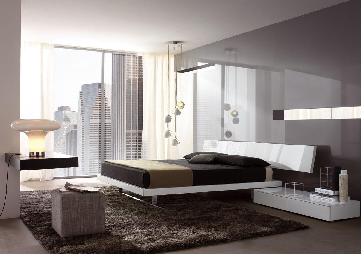 Мебель из глянцевого ДСП в спальне в стиле минимализм