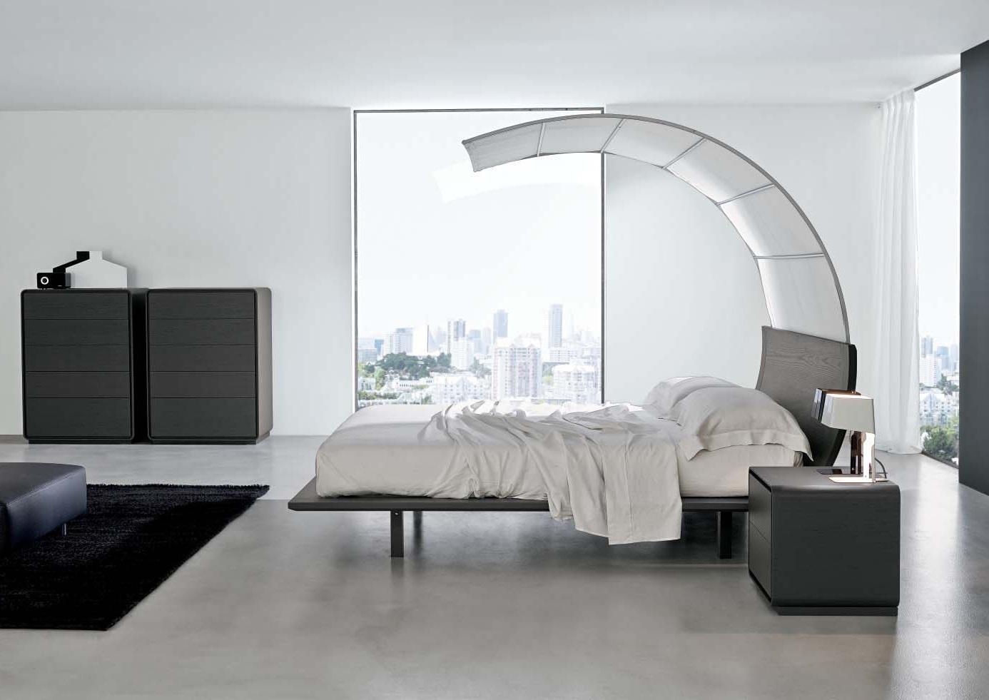 Мебель из металла и пластика в спальне в стиле минимализм