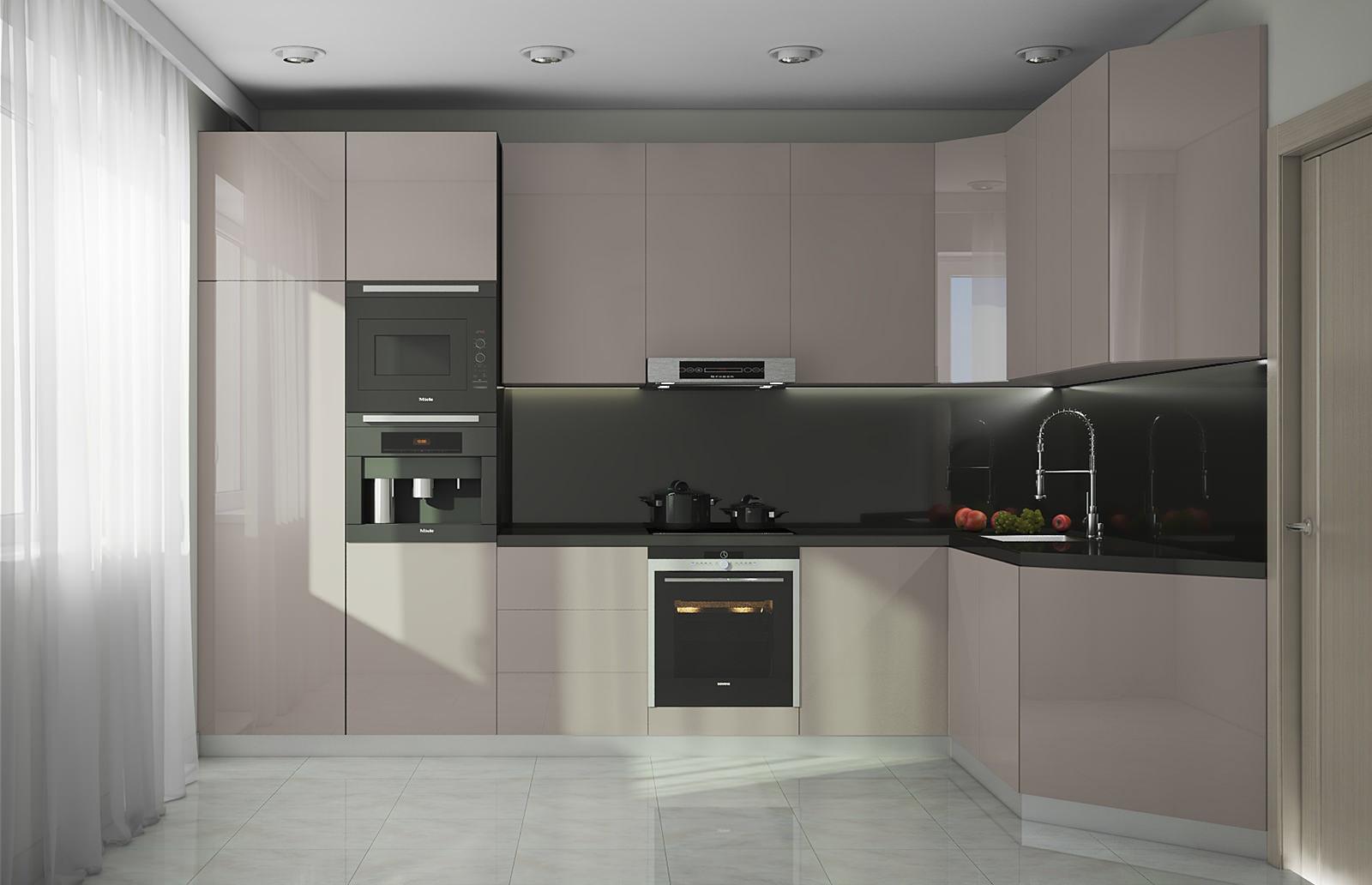 Серый кухонный гарнитур в стиле минимализм