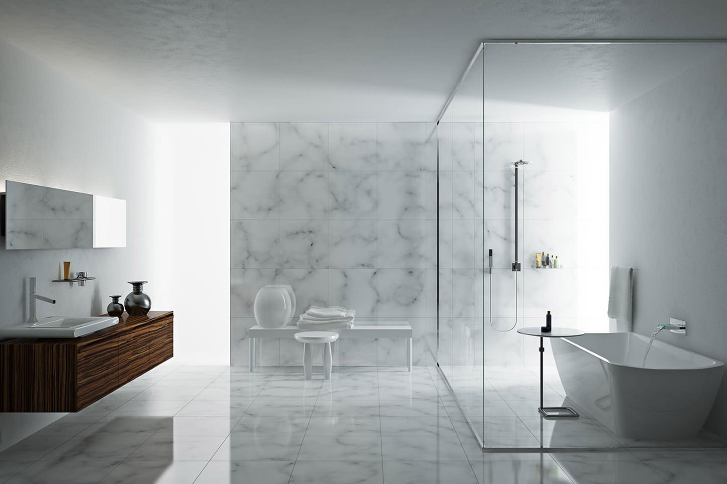 Коричневая и белая мебель в ванной в стиле минимализм