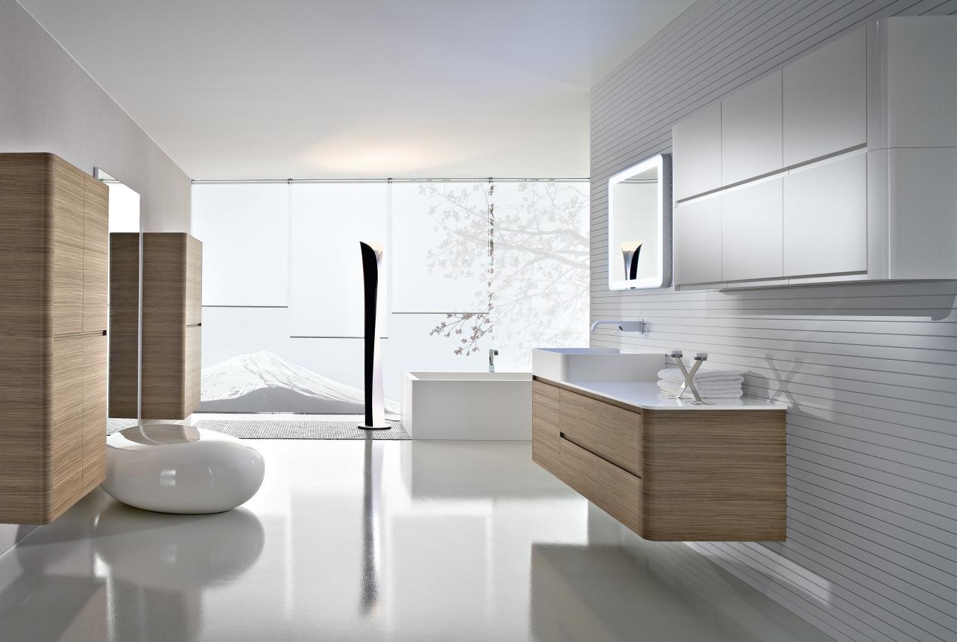 Мебель под дерево в стиле минимализм в ванной