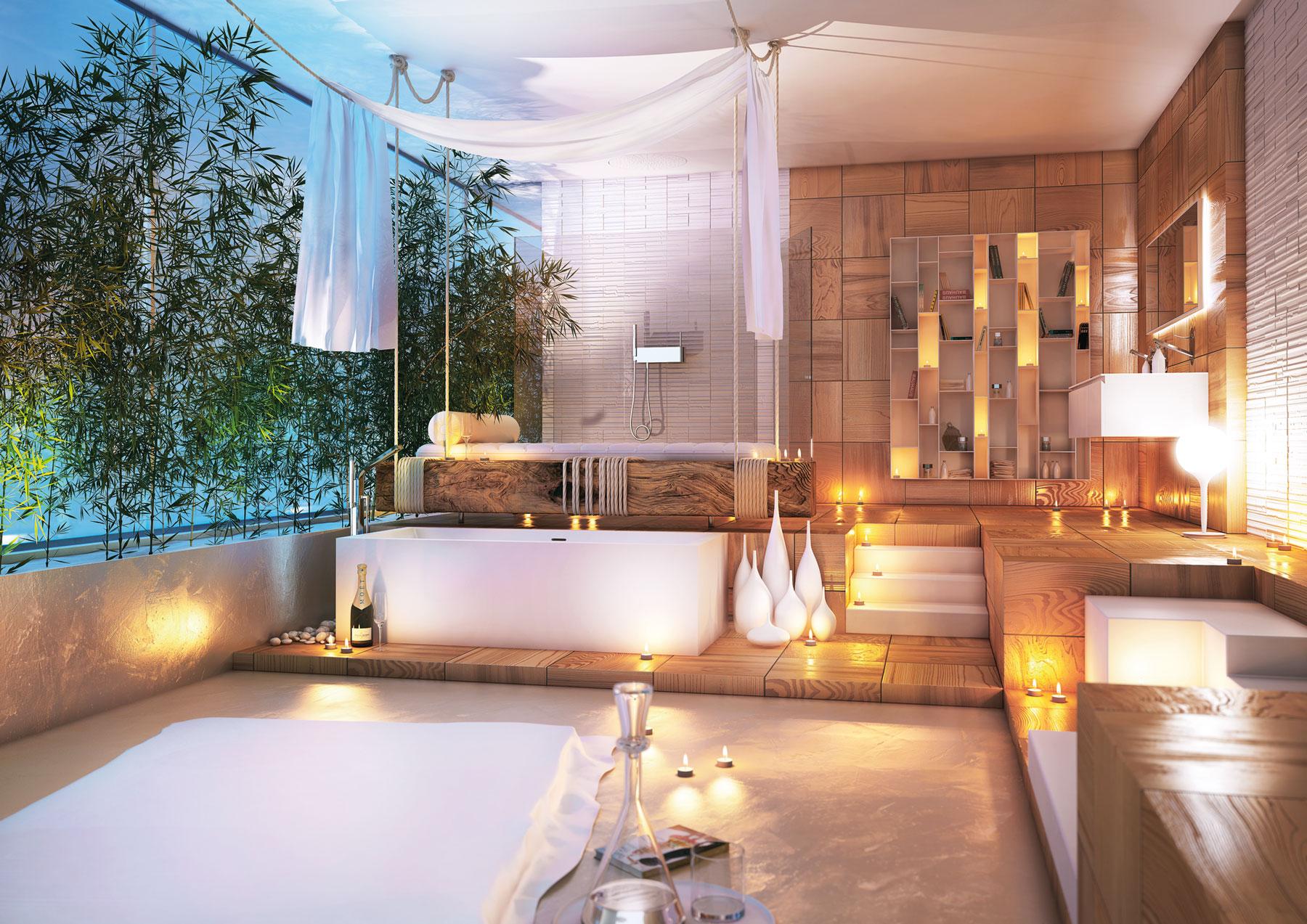 Роскошная ванная в стиле модерн