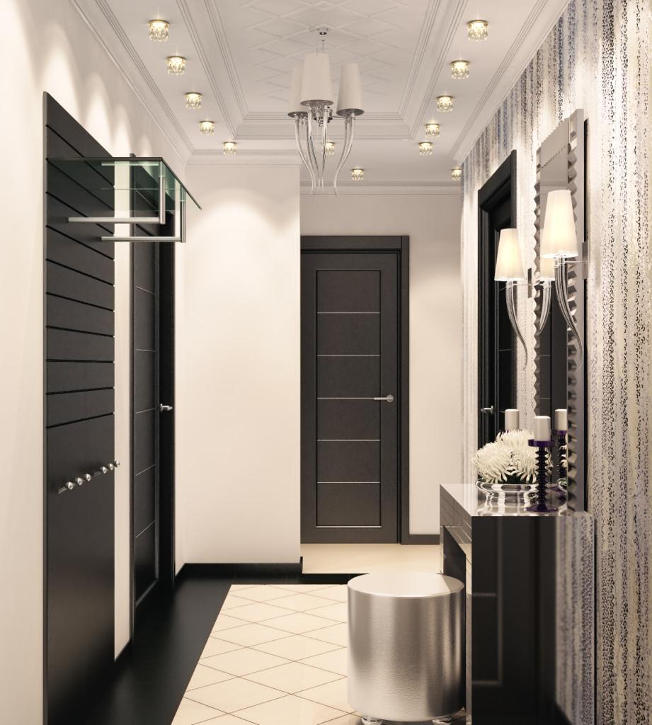 Черно-белая мебель в прихожую в стиле модерн