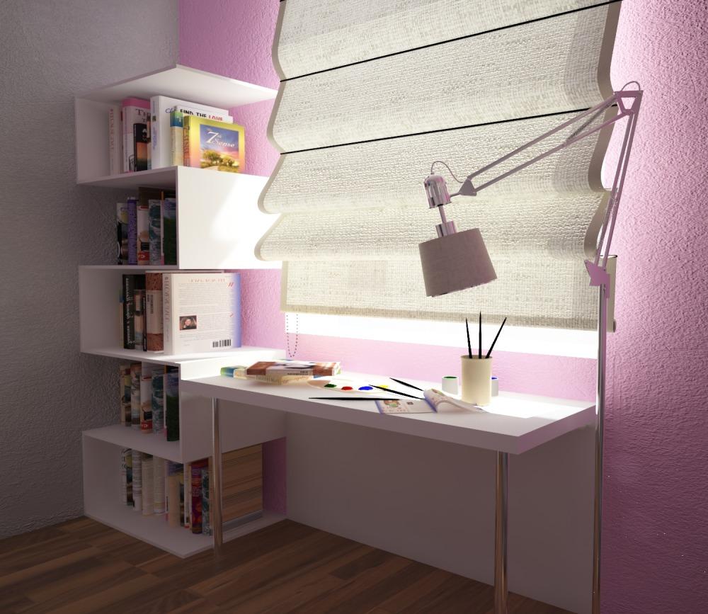 Белый стол и шкаф в стиле модерн для детской