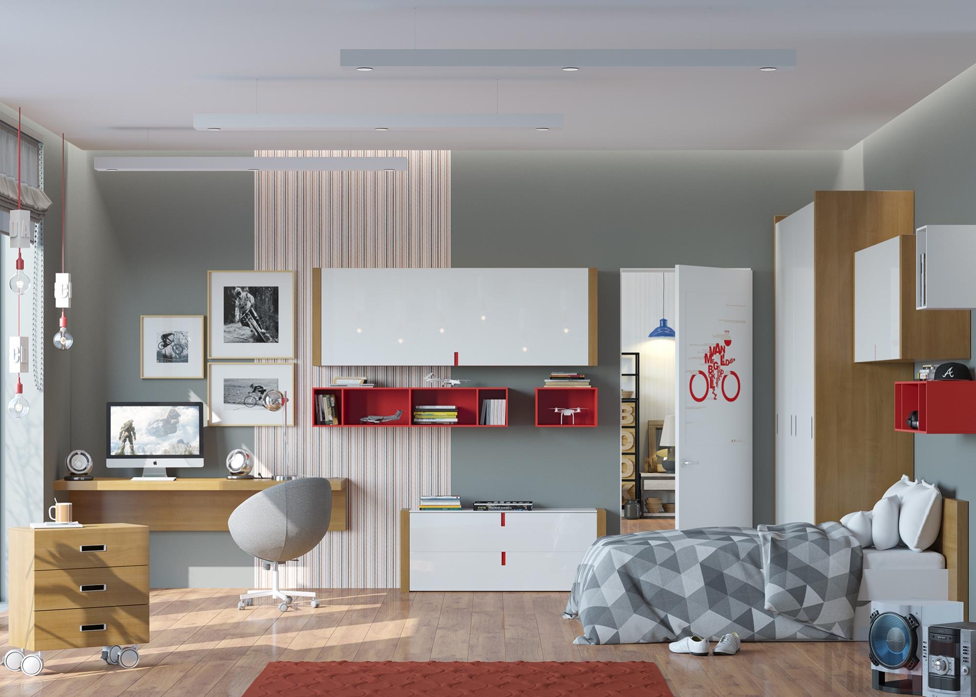 Уютная комната подростка  в стиле модерн