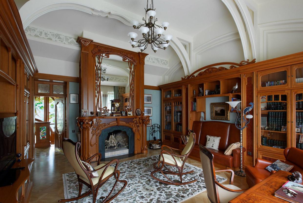Мебель из дерева в гостиной в стиле модерн