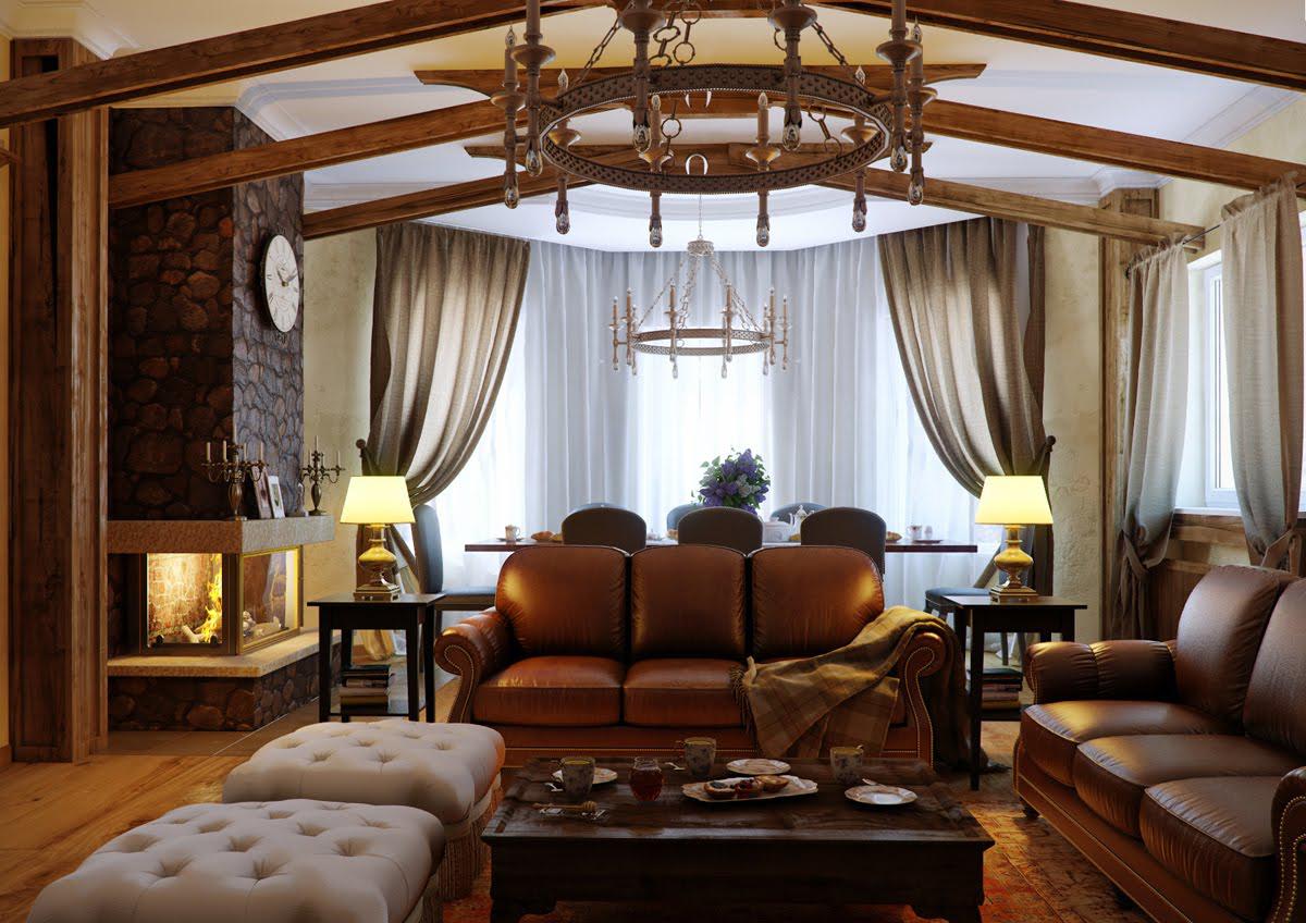 Кожаные диваны в гостиной в стиле модерн