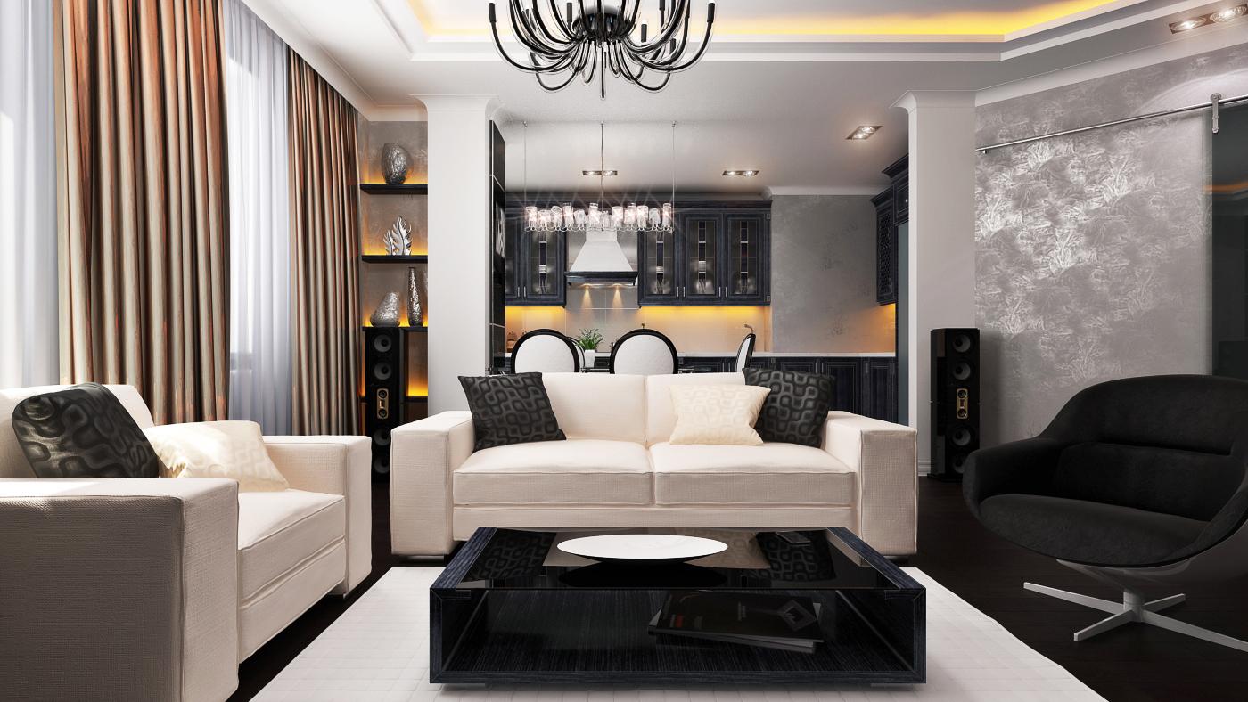 Черная и белая мебель для гостиной зоны в квартире