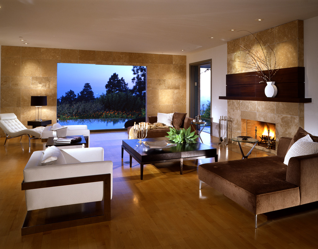 Коричнево-белая мебель для гостиной в стиле модерн