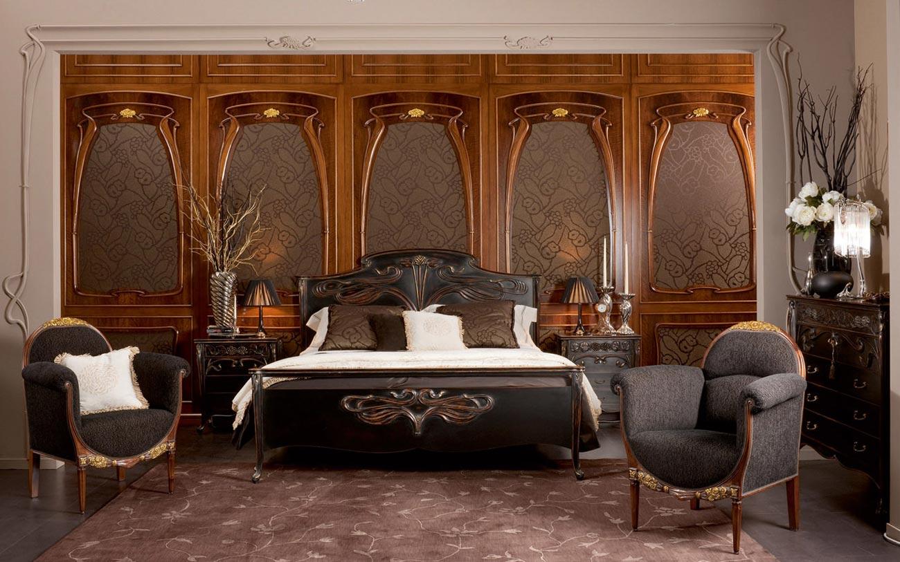 Деревянная мебель в стиле модерн в спальне