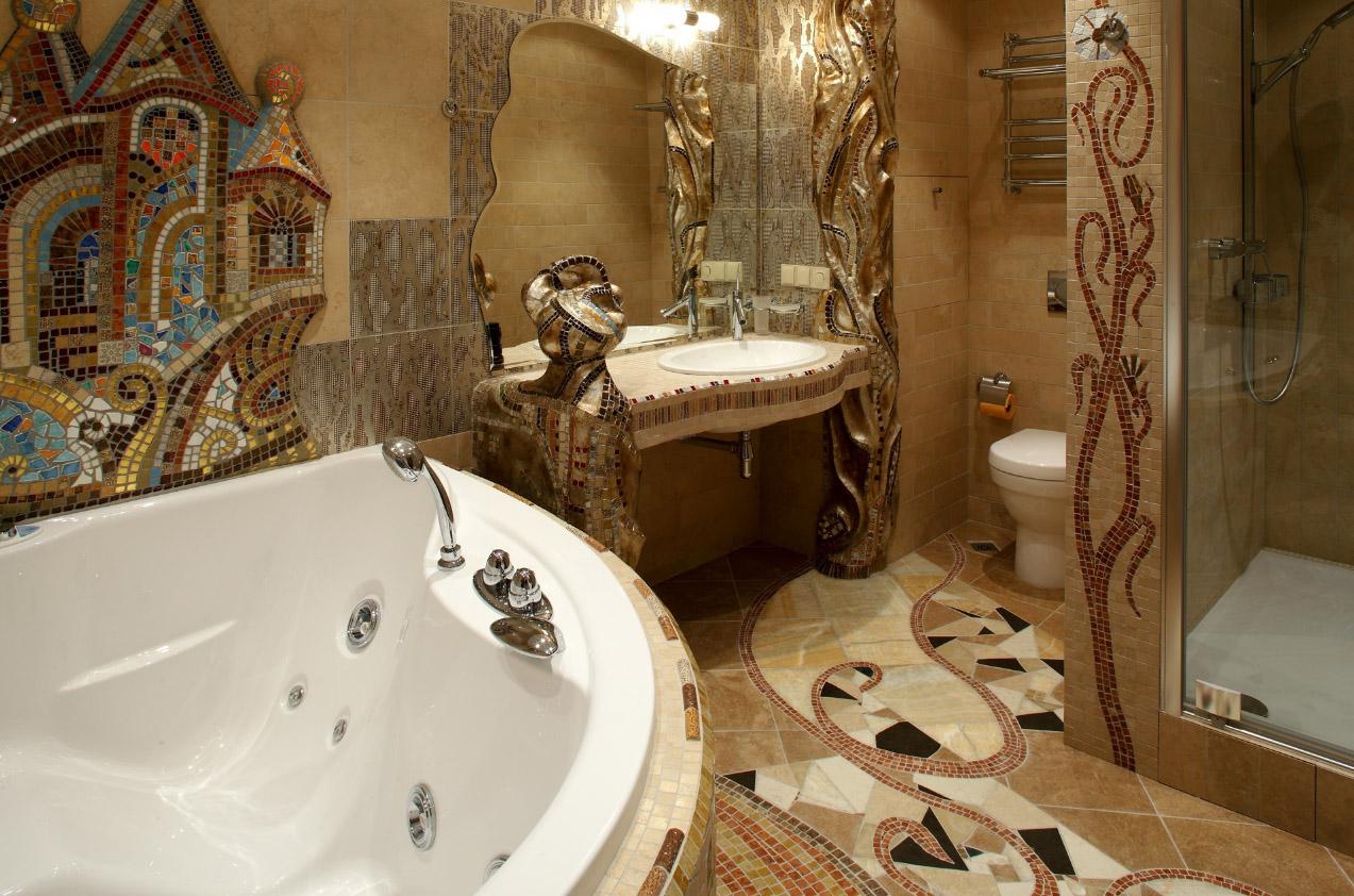 Красивое сочетание мозаики и плитки в ванной комнате в стиле модерн