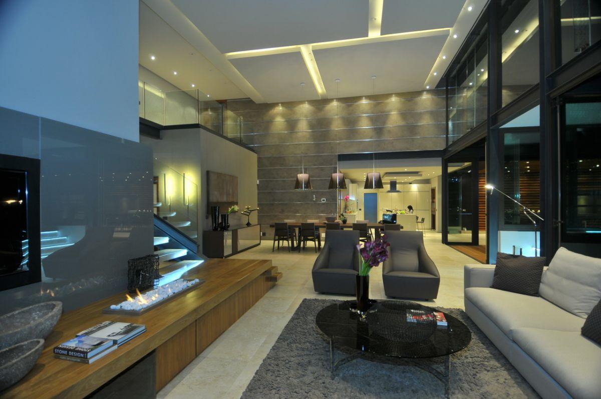 Черно-серая мебель в интерьере в стиле модерн