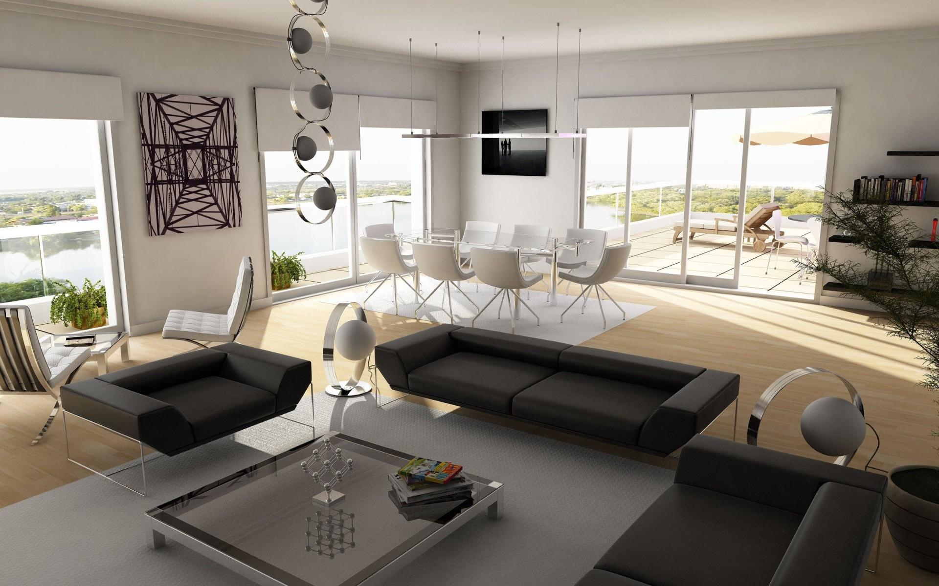 Черная и белая мебель в стиле модерн