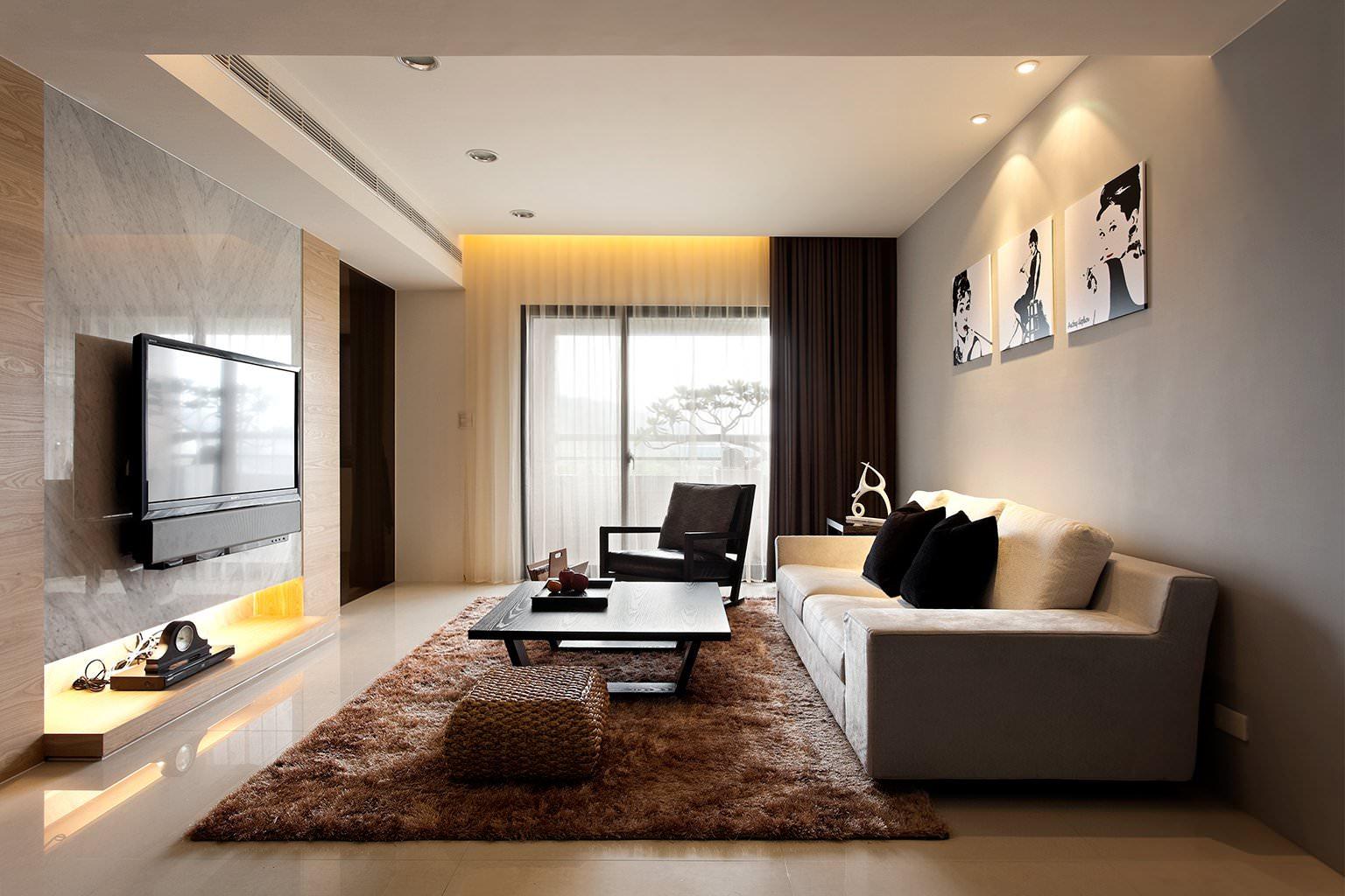 Бежевая и черная мебель для гостиной в стиле модерн