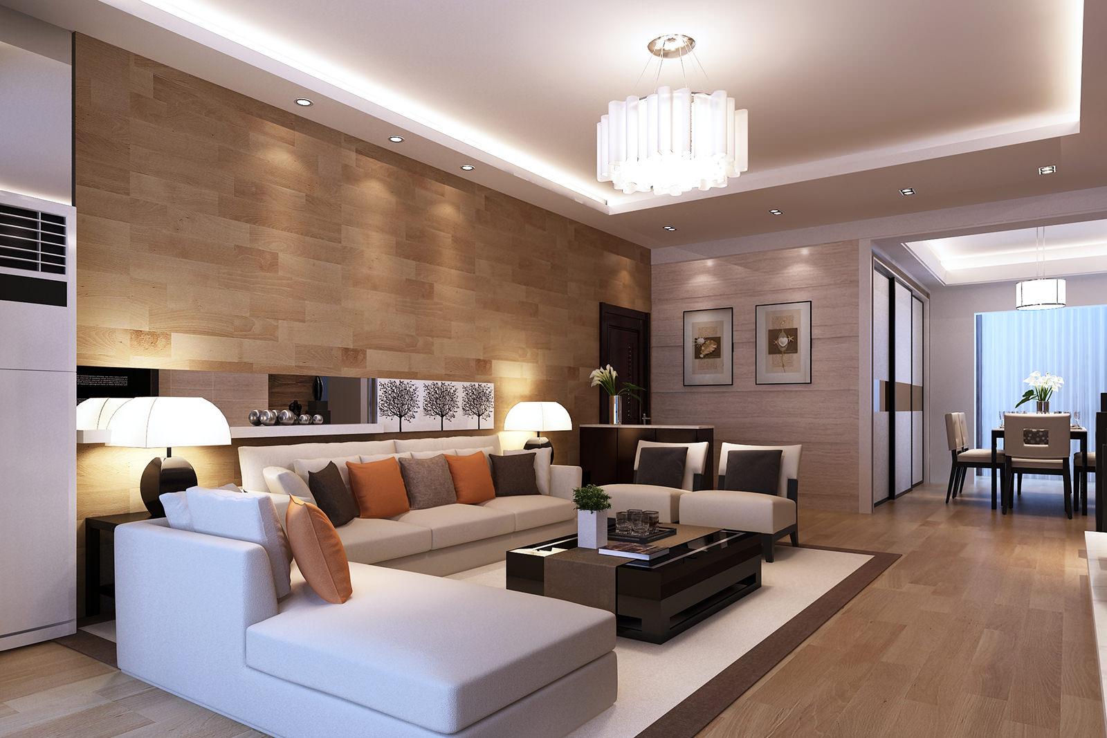 Белый угловой диван и другая мебель в стиле модерн