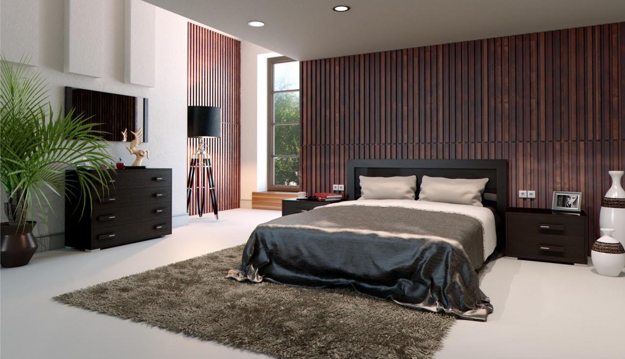 Мебель и отделка венге в спальне