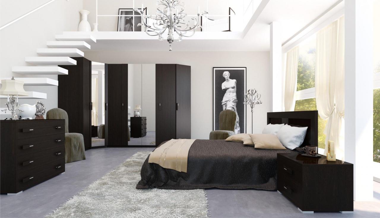 Мебель венге в интерьере светлой спальни