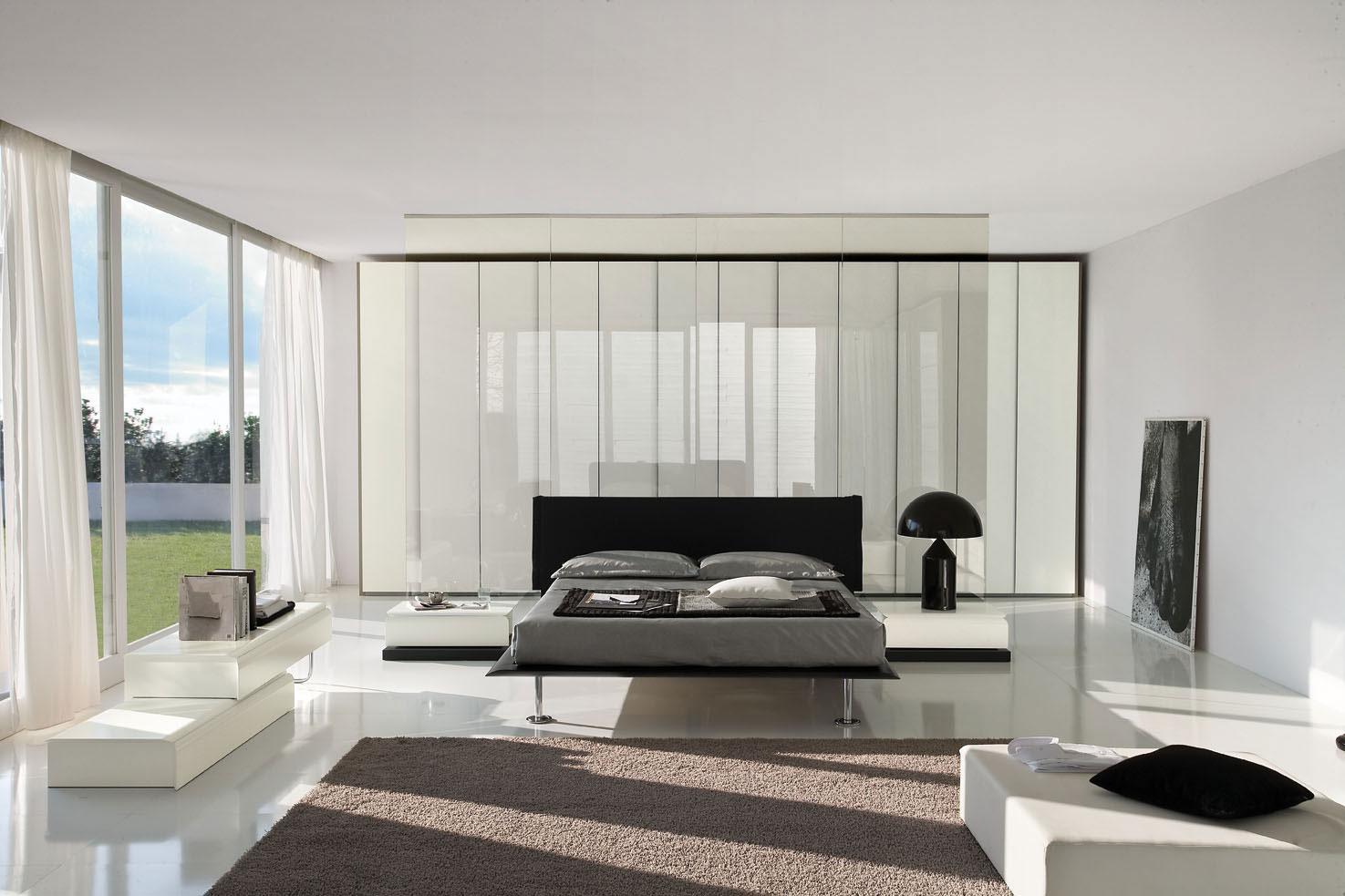 Черно-белая мебель в спальне в стиле хай-тек