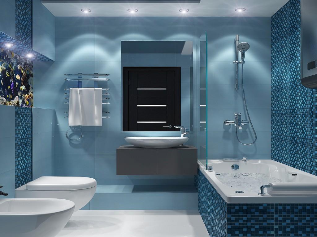 Серая тумба под раковину в ванной в стиле хай-тек