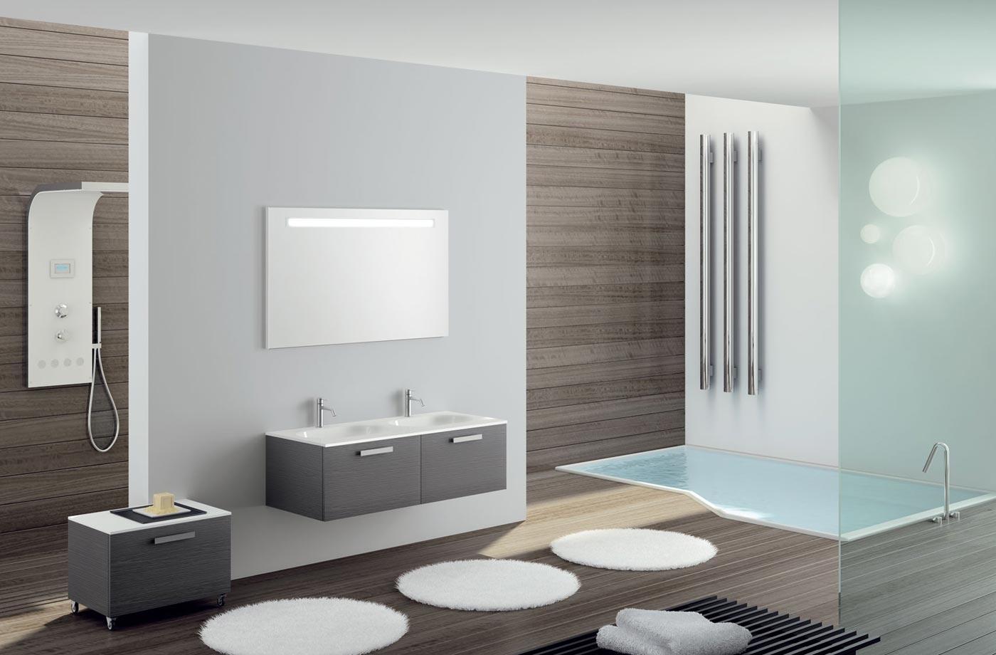Черно-белая мебель в ванной в стиле хай-тек