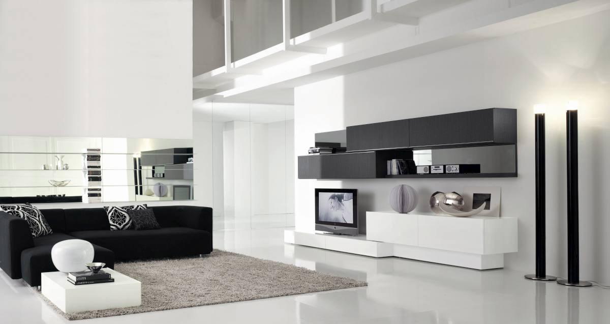 Черно-белая мебель в большой гостиной в стиле хай-тек