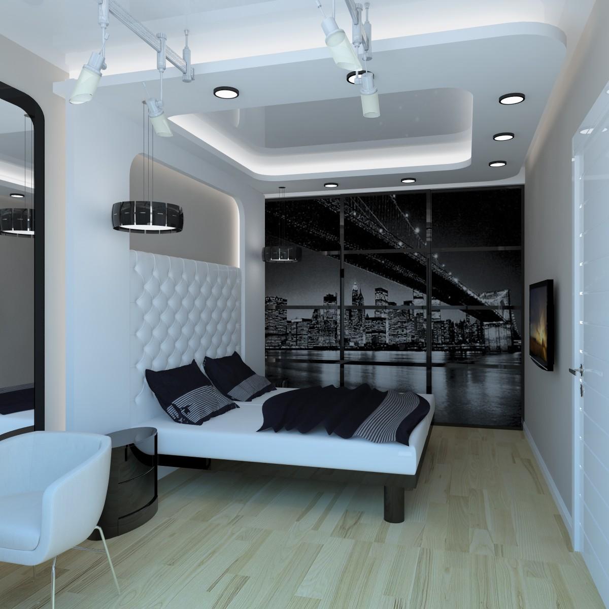 Стильная черно-белая спальня хай-тек
