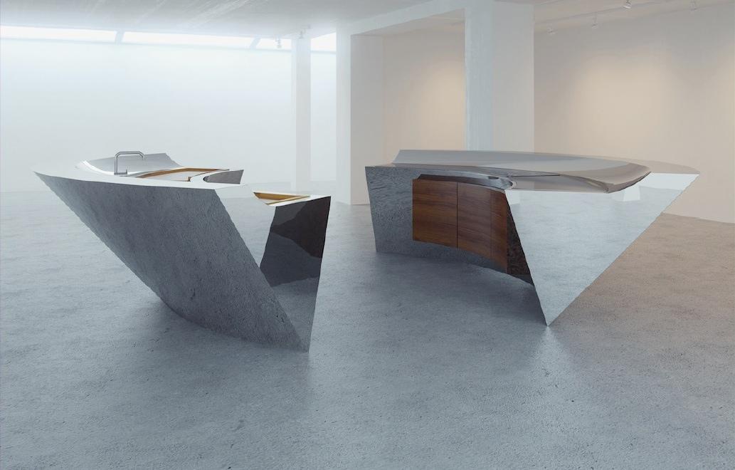 Концепт современной мебели для кухни в стиле хай-тек