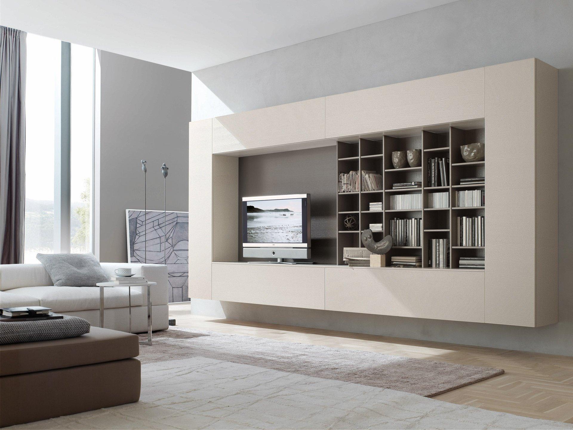 Бежевая, белая и коричневая мебель в стиле хай-тек в гостиной